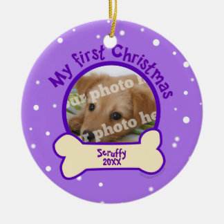 Purple My First Christmas Custom Photo Name Dog Ceramic Ornament