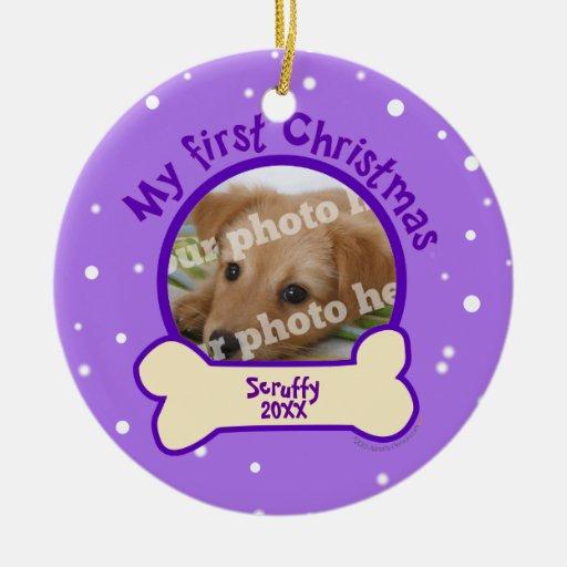 Purple My First Christmas Custom Photo Name Dog Ornaments