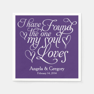 Purple My Soul Loves Heart Personalized Wedding Standard Cocktail Napkin