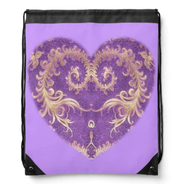 Beach Themed Purple N Gold Brocade Heart Drawstring Backpack