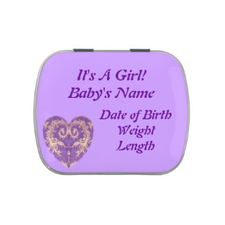 Purple N Gold Brocade Heart It's A Girl Candy Tin