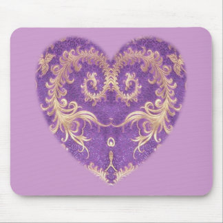 Purple N Gold Brocade Heart Mousepad