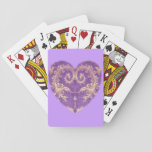 Purple N Gold Brocade Heart Playing Cards