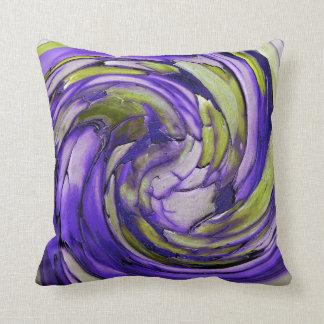 Purple N Lime Abstract Art Throw Pillow