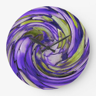 Purple N Lime Dolphin vs Eagle Abstract Wall Clock