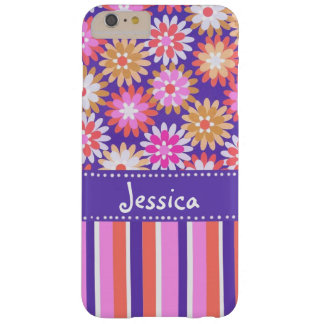 Purple 'n Pink Flowers & Stripes Barely There iPhone 6 Plus Case