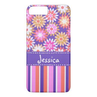 Purple 'n Pink Flowers & Stripes iPhone 7 Plus Case