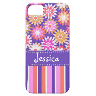 Purple 'n Pink Flowers & Stripes iPhone SE/5/5s Case