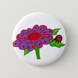 Purple n red ladybug with flower button