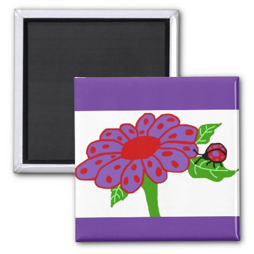 Purple n red ladybug with flower magnet