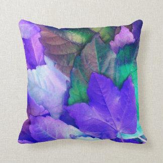 Purple N Teal Leaves Throw Pillow