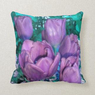 Purple N Teal Tulips Throw Pillow