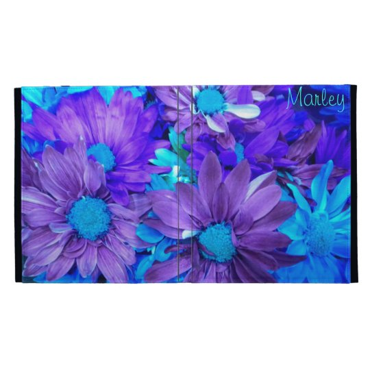 Purple N Turquoise Daisies iPad Folio *Personalize iPad Folio Covers
