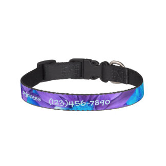 Purple N Turquoise Daisies Personalized Dog Collar