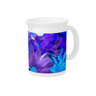 Purple N Turquoise Daisies Pitcher