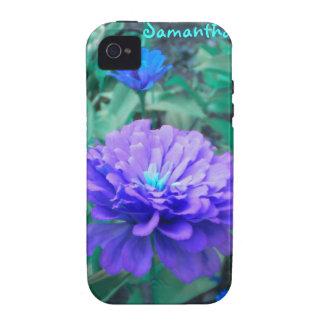 Purple n Turquoise Zinnia iPhone 4 case