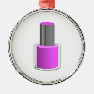 Purple Nail Polish Round Metal Christmas Ornament