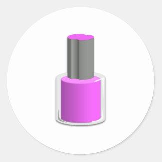 Purple Nail Polish Round Stickers