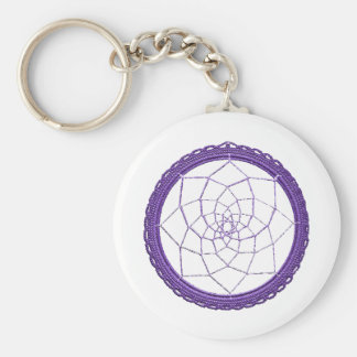 Purple Native American Dream Catcher Basic Round Button Keychain