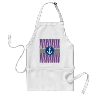 Purple Nautical Anchor Chevron Adult Apron