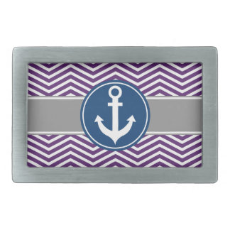 Purple Nautical Anchor Chevron Belt Buckle