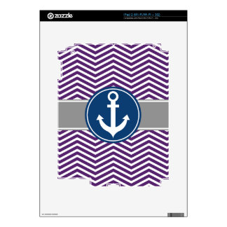 Purple Nautical Anchor Chevron Decals For The iPad 2