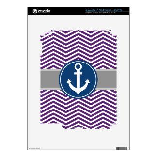 Purple Nautical Anchor Chevron iPad 3 Decals