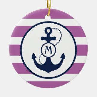 Purple Nautical Anchor Monogram Ceramic Ornament