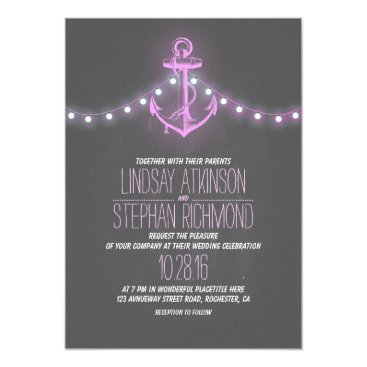Beach Themed purple nautical chalkboard anchor wedding card