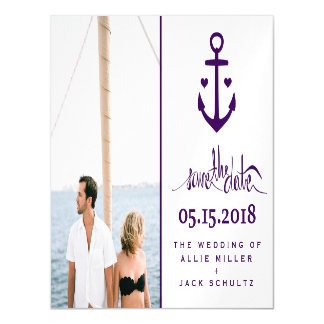 Purple Nautical Wedding Photo Save the Date Magnet