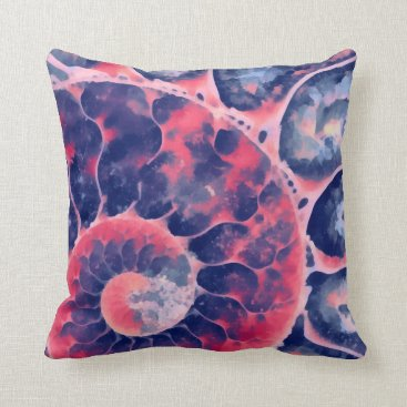 Beach Themed Purple Nautilus Throw Pillow
