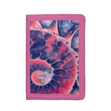 Beach Themed Purple Nautilus Trifold Wallet