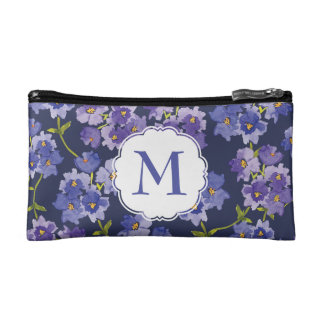 Purple & Navy Blossoms Watercolour Cosmetics Bags