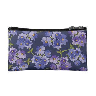 Purple & Navy Watercolour Floral Cosmetics Bag