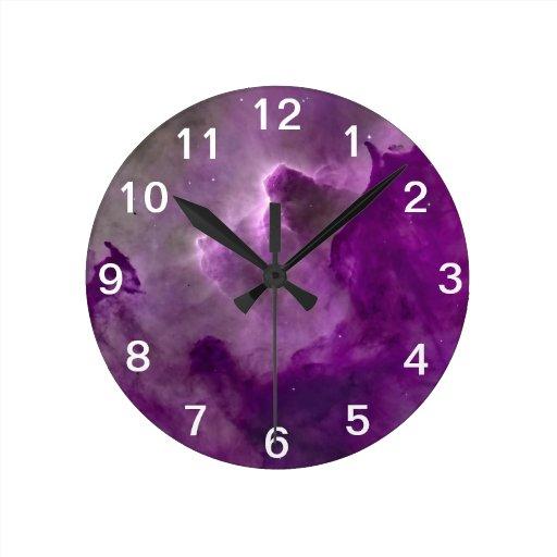 Purple Nebula Cloud Monochromatic Clock