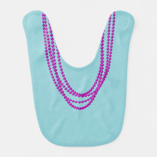 Purple Necklaces on Reversible Turquoise Pink Bib