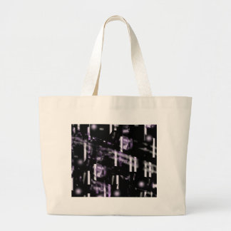Purple neon city large tote bag