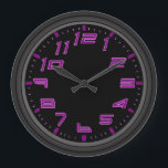 """Purple Neon Nights Large Clock<br><div class=""""desc"""">The perfect classy and customizable wall clock for your home or office. Features a cool fun purple neon light inspired design for a fun look in the home or office (does not contain neon lights in the clock). Fully customizable to add names,  images,  and more. Enjoy!</div>"""