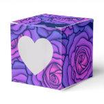 Purple Neon Roses Black Light Style Floral Art Favor Box