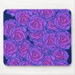 Purple Neon Roses Black Light Style Floral Art Mouse Pad