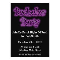 Purple Neon Sign Bachelor Party Invitation