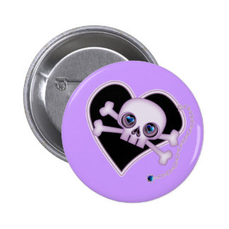 Purple Neon Skull Pinback Button