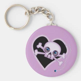 Purple Neon Skull Keychain