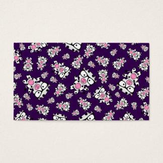 Purple nerd cow pattern business card