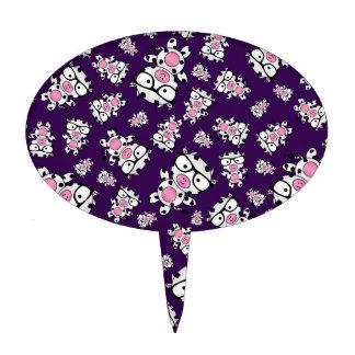 Purple nerd cow pattern cake picks