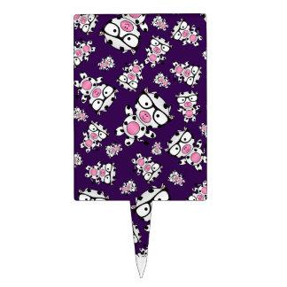 Purple nerd cow pattern cake toppers