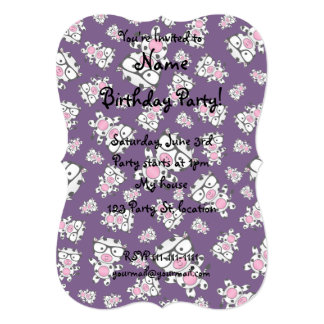 Purple nerd cow pattern 5x7 paper invitation card