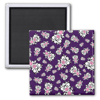 Purple nerd cow pattern refrigerator magnets