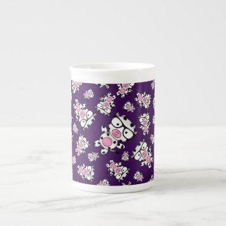 Purple nerd cow pattern porcelain mug