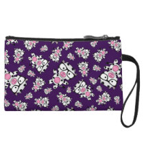 Purple nerd cow pattern wristlet